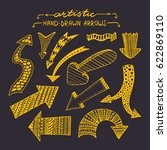 set of hand drawn artistic... | Shutterstock .eps vector #622869110