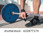 weightlifting wrist straps... | Shutterstock . vector #622877174