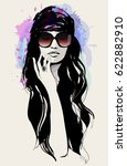 drawing of a beautiful woman... | Shutterstock .eps vector #622882910