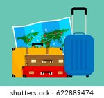 colorful travel bags and folded ... | Shutterstock .eps vector #622889474