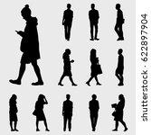 black walk silhouettes vector | Shutterstock .eps vector #622897904