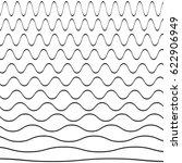 set of wavy pattern. vector... | Shutterstock .eps vector #622906949