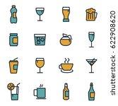 vector flat drinks icons set on ...   Shutterstock .eps vector #622908620