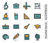 vector flat education icons set ... | Shutterstock .eps vector #622908653