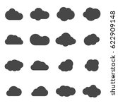 vector black cloud icons set on ... | Shutterstock .eps vector #622909148