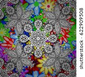 abstract mandala on a... | Shutterstock . vector #622909508