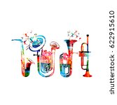Music instruments background. Colorful saxophone, double bell euphonium, euphonium and trumpet isolated vector illustration