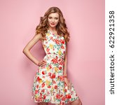 blonde young woman in floral... | Shutterstock . vector #622921358