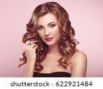 blonde woman with long and... | Shutterstock . vector #622921484
