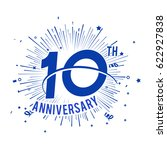 10th anniversary logo with... | Shutterstock .eps vector #622927838