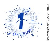 1st anniversary logo with... | Shutterstock .eps vector #622927880