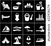 vacation icons set. set of 16... | Shutterstock .eps vector #622928174