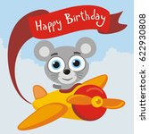 happy birthday  funny mouse... | Shutterstock .eps vector #622930808