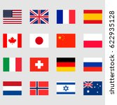 16 national flags set