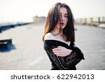 portrait brunette girl with red ... | Shutterstock . vector #622942013