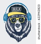 cool bear illustration for t... | Shutterstock .eps vector #622942823