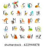 cute zoo alphabet with cartoon... | Shutterstock .eps vector #622944878