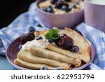 healthy breakfast. pancakes... | Shutterstock . vector #622953794