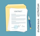 signed a contract with stamp ... | Shutterstock . vector #622965164
