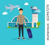 young man traveling with travel ... | Shutterstock .eps vector #622967270
