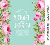 floral invitation card.... | Shutterstock .eps vector #622969034