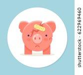 cracked piggy bank with plaster.... | Shutterstock .eps vector #622969460