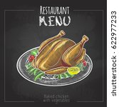 chalk drawing menu design.... | Shutterstock .eps vector #622977233