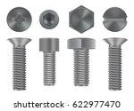 metal bolts collection. screw... | Shutterstock .eps vector #622977470
