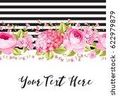 botanical pink rose flowers... | Shutterstock .eps vector #622979879