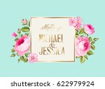 marriage invitation card with... | Shutterstock .eps vector #622979924