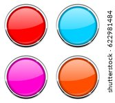 round button with chrome frame. ... | Shutterstock . vector #622981484