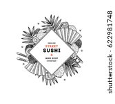 sushi restaurant menu round... | Shutterstock .eps vector #622981748