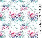 watercolor flowers and...   Shutterstock . vector #622983530