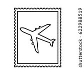 postal stamp line icon with air ... | Shutterstock .eps vector #622988519