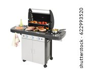 barbecue gas grill with food... | Shutterstock . vector #622993520