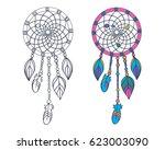 dreamcatcher. boho style.... | Shutterstock .eps vector #623003090