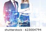 two unrecognizable business... | Shutterstock . vector #623004794