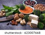 vegan sources of protein.... | Shutterstock . vector #623007668