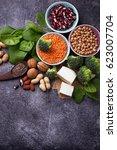 vegan sources of protein.... | Shutterstock . vector #623007704