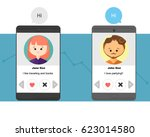 online dating profiles...   Shutterstock .eps vector #623014580