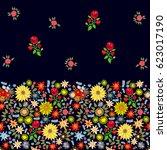 vintage spring. seamless border ... | Shutterstock .eps vector #623017190