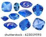 set of blue sapphire gems... | Shutterstock . vector #623019593