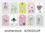 summer gift tags and labels... | Shutterstock .eps vector #623020139