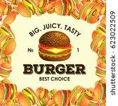 frame from tasty burger grilled ... | Shutterstock .eps vector #623022509