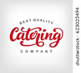 catering vector logo badge with ... | Shutterstock .eps vector #623025494