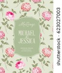 marriage invitation card with... | Shutterstock . vector #623027003