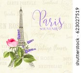 eiffel tower simbol with spring ... | Shutterstock . vector #623027519