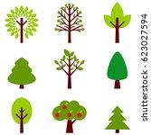 set icon tree. vector... | Shutterstock .eps vector #623027594