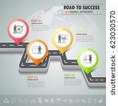 road way infographic template 4 ... | Shutterstock .eps vector #623030570