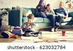 family spend time happiness... | Shutterstock . vector #623032784